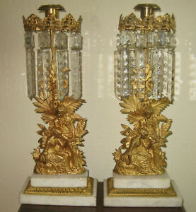 ANTIQUE GIRANDOLE CANDLE HOLDERS GILT BRONZE DOUBLE MARBLE BASE SNOWFLAKE PRISIM