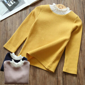 US Toddler Kids Girls Lace Turtleneck Long Sleeve Tops T shirt Clothes 2 7T $11.79
