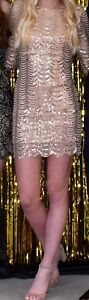 Short Sequin Cocktail Party Dress; Champage Gold; Size Small; 34 Sleeves