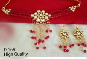 Traditional Party Wear Bridal Red Beads Choker Women kundan Necklace Set
