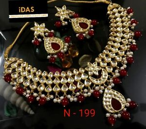Gold Plated Choker Bollywood Indian Kundan Ethnic Red Necklace Earrings  Set