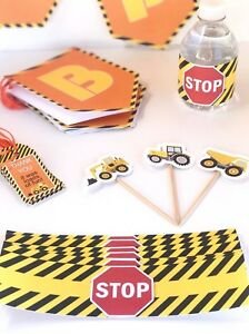 Construction Party Decorations 12 kids Kit Trucks Birthday Party Supplies Decor