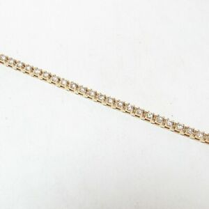 Estate 14K Yellow Gold 49 Round Brilliant Cut Diamond Tennis Bracelet 2.00 Cts