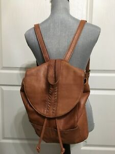 Day and Mood Leather Tan Brown Backpack EUC