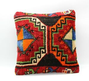 Handmade Turkish Decorative Vintage Kilim Pillow Cover 16'' X 16'' (40x40 cm )