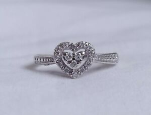 10K White Gold - ZEI - Diamond Halo Heart Ring - Size 7 - 2.17 Grams
