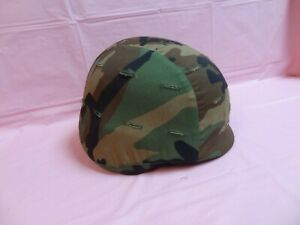 DEVILS LAKE SIOUX  KEVLAR HELMET WITH ARMY CAMOUFLAGE COVER & STRAP ~