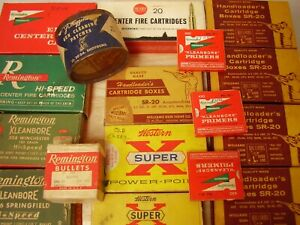 17 VINTAGE EMPTY ASSORTED AMMUNITION BOXES FOR DISPLAY