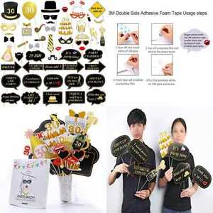 30Th Birthday Party Photo Booth Props 52Pcs For Her Him Dirty Thirty GOLD