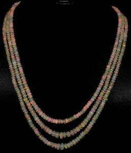 100%Natural Ethiopian Welo Fire Opal 136Crt 3Line A+++ Opal Beads Necklace Lot14