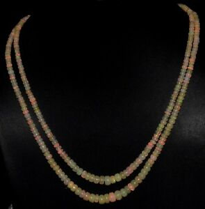 A+++ 100Crt 2Strand 100%Natural Ethiopian Welo Fire Opal Beads Necklace Lot01