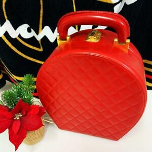 CHANEL Vanity Hand Bag Handbag Red Purse Pouch Jewelry Case Box Woman Auth Rare