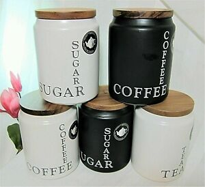 The Old Pottery Company CERAMIC COFFEE TEA SUGAR Canister Jar NEW - YOU PICK!