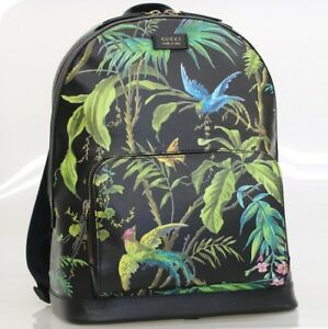 GUCCI Backpack Rucksack Bag Tropical 406370 Black Green Bird Floral Auth Mint