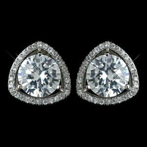 Certified 4 Ct Round Diamond Classic Halo Stud Earrings Push Back 14k White Gold