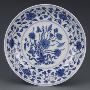 Nice Chinese Ming Xuan De Blue White Porcelain bunch of lotus veins Plate