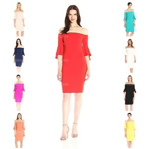 Laundry by Shelli Segal Women's Crepe Off The Shoulder Cocktail Dress