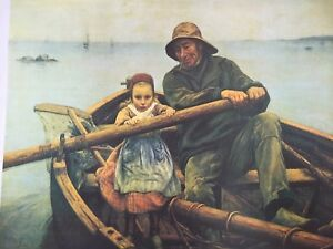 NOS The Helping Hand CANVAS LITHOGRAPH Print Emile Renouf SAILOR GIRL 16x20 BOAT