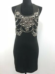SHERI BODELL BLACK SILVER STUDDED CLUB COCKTAIL DRESS M
