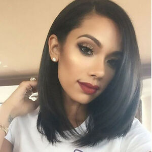 1PC Straight Black Front Wig Short Wis Natural Hair Wig Women Hair Accessory #LK