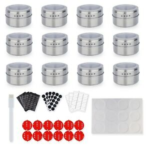 BEF Stainless Steel Magnetic Spice Tins Magnetic Spice Rack With Wall Mounted 12