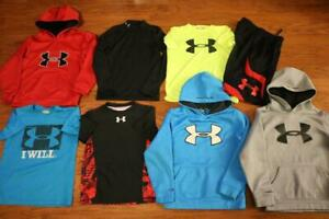 LOT OF 8 UNDER ARMOUR BOYS ATHLETIC SHIRTS SHORTS STORM HOODIES BASELAYER SMALL