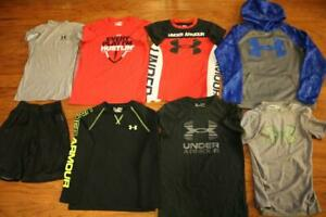 LOT OF 8 UNDER ARMOUR BOYS ATHLETIC SHIRTS UA STORM HOODIE SHORTS LOOSE MEDIUM