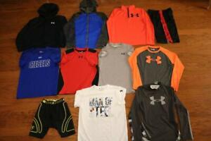 LOT OF 11 UNDER ARMOUR BOYS SHIRTS HOODIES MAGZIP 14 ZIP SHORTS SUPERMAN LARGE