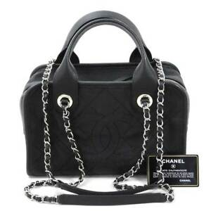 CHANEL Deauville Caviar Skin Hand Chain Shoulder Bag Black Woman Auth Used Rare