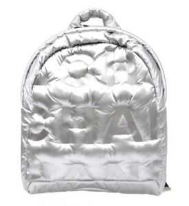 CHANEL Backpack Day Bag A91933 Silver Nylon Rucksack CC logo Woman Mint Auth