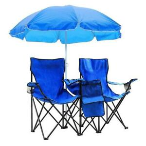 Folding Camping Outdoor Picnic Double Chair with Umbrella Table Cooler Beach New