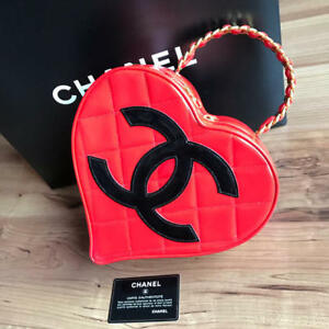 CHANEL Heart Vanity Hand Bag Pouch Red Coco mark Enamel Leather Woman Aut