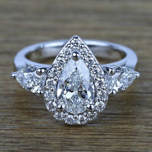 3 ct Pear Shape Diamond 10k White Gold Three-stone Engagement Ring for Women's