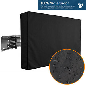 Outdoor TV Cover Fit For Flat Screens - Weatherproof Television Protector Black