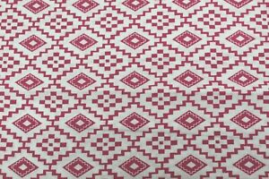 100 % Cotton fabric White with Shocking Pink design BTY