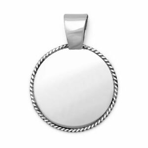 Engravable Pendant with Rope Edge Charm Jewelry 925 Sterling Silver