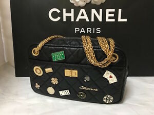 Chanel Embroidery Shoulder Bag Gold Chain Purse Charm Black Woman Auth Ld Rare