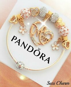Authentic Pandora Charm Bracelet With Gold MOM Flower Heart European Charms.New