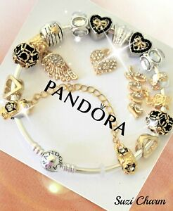 Authentic Pandora Bracelet Silver with 15 bead European charms Gold Heart New
