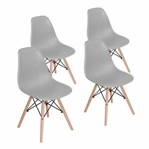 Dining Side Chair with Walnut Legs in Grey (Set of 4)