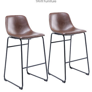 Counter Barstool Vintage PU Leather Bar Stools with Back and Footrest Set of 2