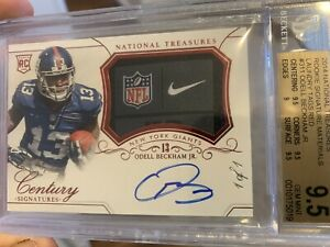 ODELL BECKHAM JR 2014 NATIONAL TREASURES 11 Laundry Tag Rookie Patch Auto RC