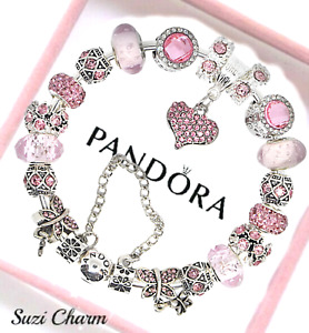 Authentic Pandora Bracelet Silver with Pink Love Angel Wing European Charms New