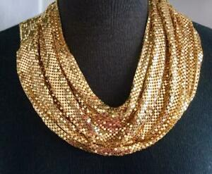 VINTAGE WHITING & DAVIS LARGE RECTANGLE GOLD TONE MESH BIB STATEMENT NECKLACE