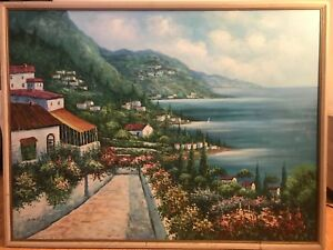 Large Original Oil Painting On Canvas Harbor Scene SeascapeSigned by D. Holmes $3999.00