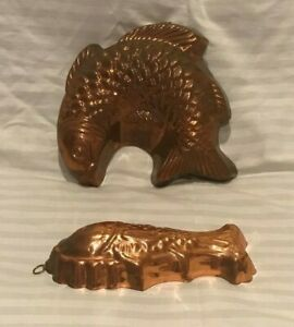 2 Decorative Copper Fish Molds Home Decor Kitchen Vintage Cake Mold Wall Hanging