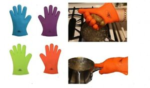 1 Silicone BBQ Glove Heat Resistant Oven Mitts Grilling Or Cooking Use As Trivet
