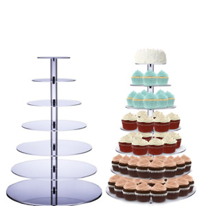 7 Tiers Cupcake Stand Round Acrylic Cupcake Display Cake Tower Dessert Stand for