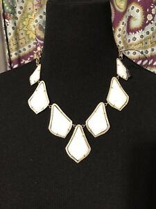 Kendra Scott White Kensey Bib Statement Necklace Rare HTF  NWOT