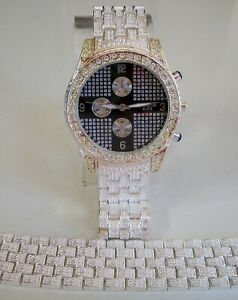 MEN'S GENEVA SILVER FINISH BLING HIP HOP FASHION DRESSY PARTY WATCH